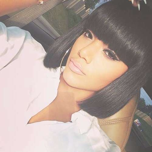 15+ Black Color Hairstyles | Hairstyles & Haircuts 2016 – 2017 Intended For Black Bob Haircuts With Bangs (View 14 of 15)