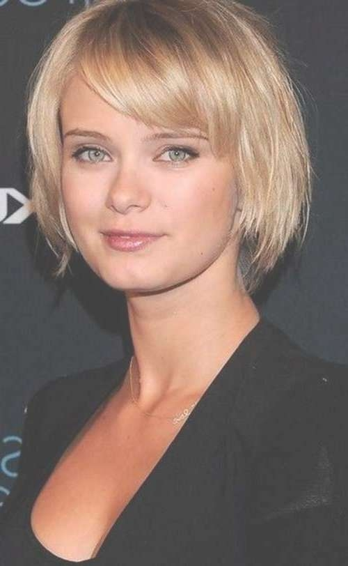 15 Short Straight Hairstyles For Round Faces | Short Hairstyles Inside Bob Haircuts With Bangs For Round Faces (View 9 of 15)