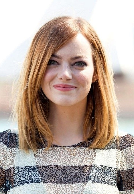 21 Trendy Hairstyles To Slim Your Round Face – Popular Haircuts Throughout Medium Long Bob Haircuts (View 11 of 15)