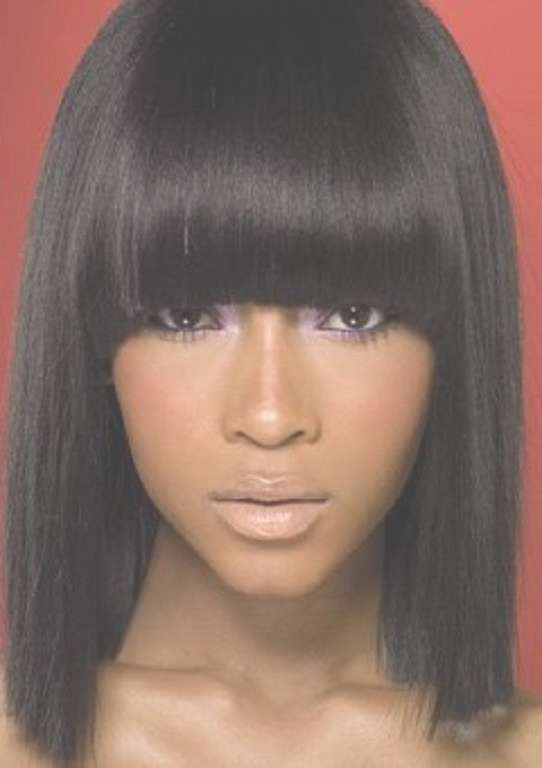 60 Showiest Bob Haircuts For Black Women | Black Women, Bob With Bob Hairstyles With Bangs For Black Women (View 2 of 15)