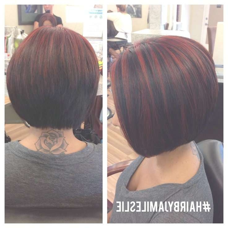 An Adorable Stacked A Line Bob With Red Highlights! Hairjami For Bob Haircuts With Red Highlights (View 6 of 15)