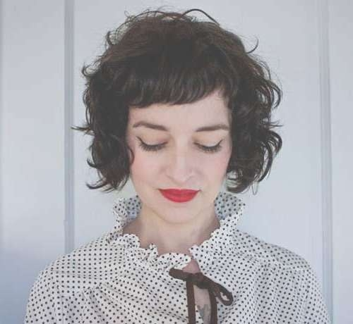 Best 25+ Curly Bob Bangs Ideas On Pinterest   Curly Fringe, Curly In Short Curly Bob Haircuts With Bangs (View 10 of 15)