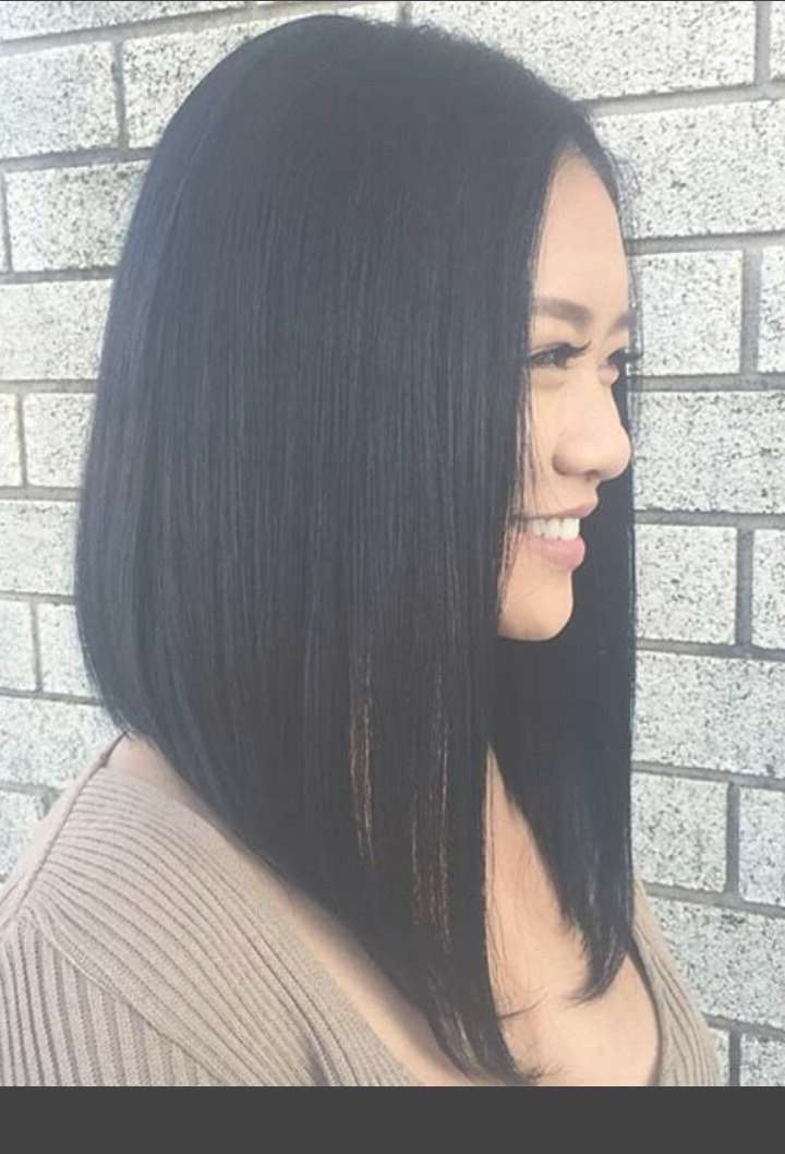 Best 25+ Long Angled Bob Hairstyles Ideas On Pinterest | New Inside Black Hair Long Bob Haircuts (View 12 of 15)