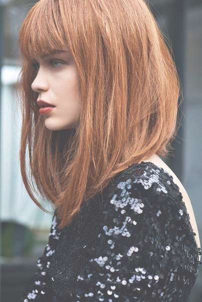 Best 25+ Long Bob Bangs Ideas On Pinterest   Long Bob With Bangs Throughout Very Long Bob Hairstyles (View 9 of 15)