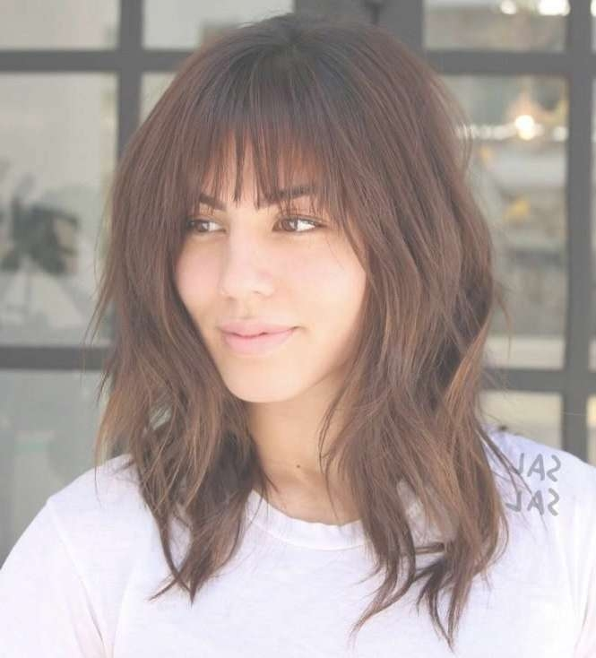 Best 25+ Long Bob With Bangs Ideas On Pinterest | Short Hair With Throughout Long Bob Haircuts With Bangs (View 3 of 15)