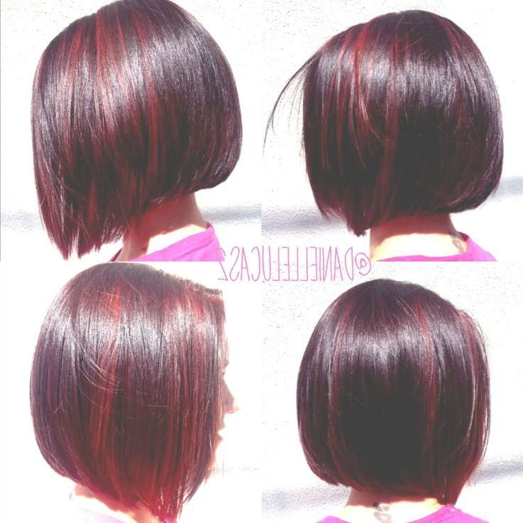 Best 25+ Maroon Highlights Ideas On Pinterest | Rose Gold Balayage With Bob Haircuts With Red Highlights (View 10 of 15)