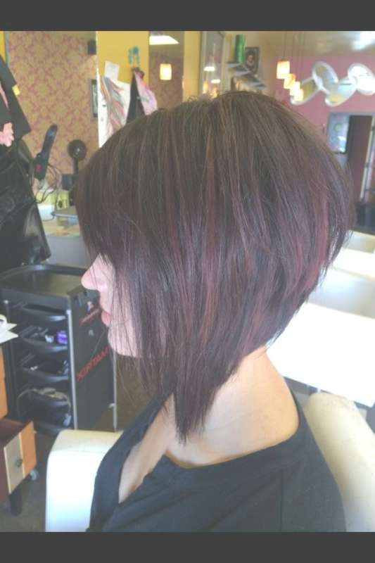 Bob Haircut Dark Red – Fun Red Violet Inverted Bob With Golden In Bob Haircuts With Red Highlights (View 9 of 15)