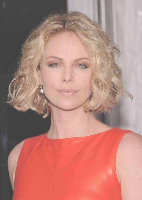 Celebrity Short Hairstyle For Round Faces – Charlize Theron For Bob Hairstyles For Round Faces And Curly Hair (View 6 of 15)