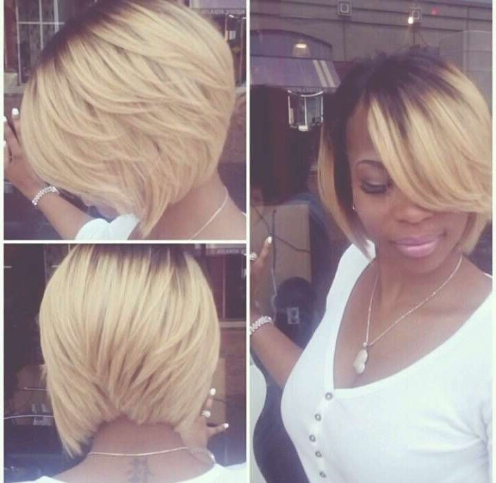 Chic Angled Ombre Bob Hairstyle For Black Women – Hairstyles Weekly Pertaining To Layered Bob Haircuts For Black Women (View 6 of 15)