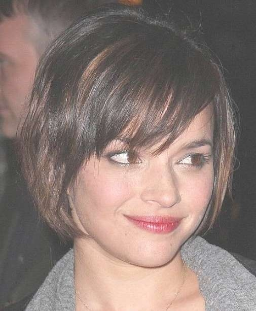 Cute Bob Haircuts For Round Faces] Cute Short Graduated Bob With Bob Haircuts With Bangs For Round Faces (View 3 of 15)