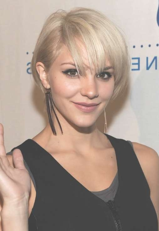 Cute Layered Short Blonde Bob Hairstyle With Bangs – Katharine Intended For Blonde Short Bob Haircuts (View 9 of 15)