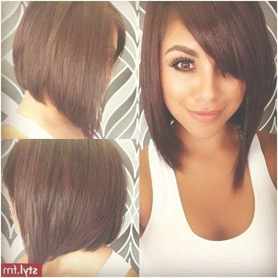 Cute Side View Of Asymmetrical Bob Hairstyle With Side Swept Bangs With Bob Hairstyles With Side Bangs (View 12 of 15)