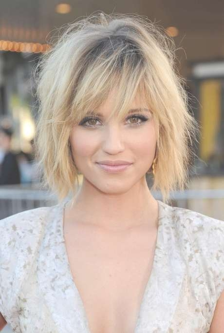 Dianna Agron Layered Short Ombre Bob Hairstyle With Bangs Within Bob Hairstyles With Layers And Bangs (View 15 of 15)