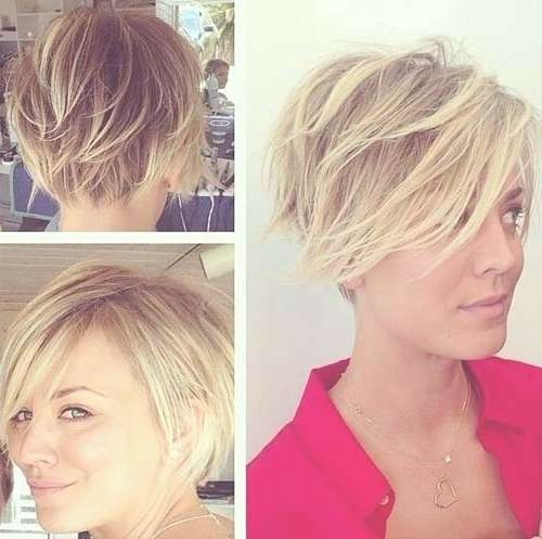Kaley Cuoco Pixie Also Super Short Bob Ombre Cut – Short – Short With Layered Pixie Bob Hairstyles (View 3 of 15)