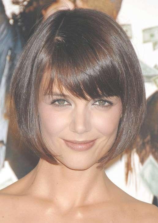 Katie Holmes Short Haircut: Cute Box Bob Cut With Bangs Pertaining To Cute Bob Hairstyles With Bangs (View 6 of 15)