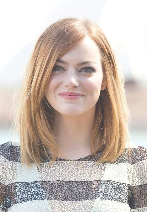 Long Bob Hairstyle For Round Faces – Emma Stone Hairstyles Within Long Bob Haircuts For Oval Faces (View 6 of 15)