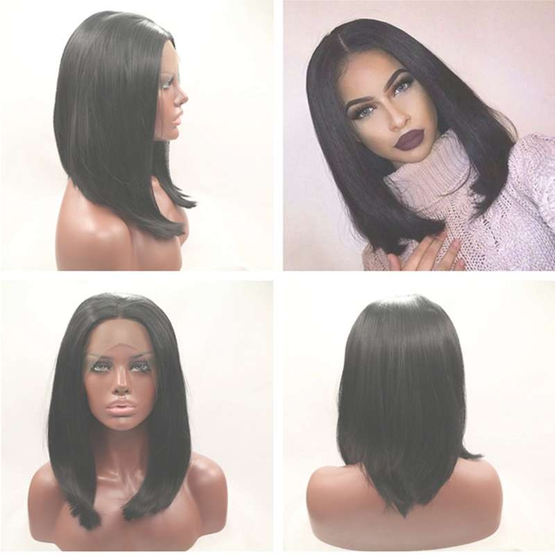 Long Bob Hairstyle Middle Part Glueless Straight Wigs For Black With Black Hair Long Bob Haircuts (View 13 of 15)