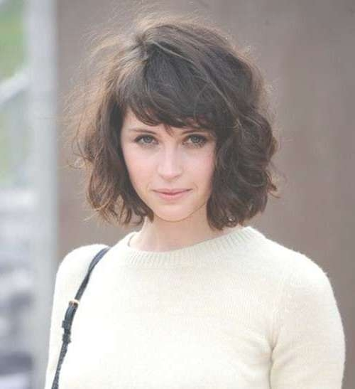 Long Wavy Bob Hairstyles With Bangs: Gallery For Gt Lob Haircut Inside Curly Bob Haircuts With Bangs (View 3 of 15)