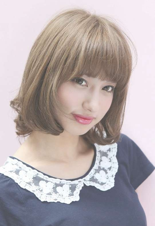 Lovely Short Japanese Bob Hairstyle With Bangs – Hairstyles Weekly Intended For Cute Bob Hairstyles With Bangs (View 3 of 15)