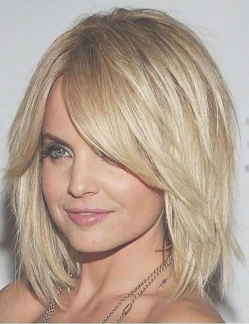 Medium Layered Bob Hairstyles With Side Bangs For Thick Coarse Intended For Bob Haircuts For Round Faces Thick Hair (View 13 of 15)
