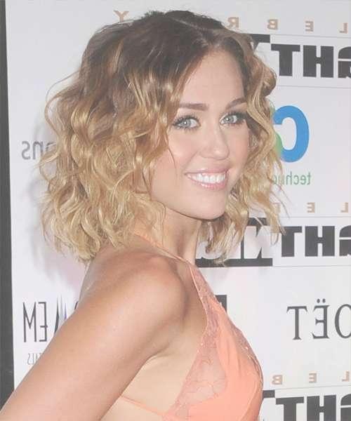 Miley Cyrus Medium Wavy Casual Bob Hairstyle – Dark Brunette Hair With Miley Cyrus Bob Haircuts (View 8 of 15)