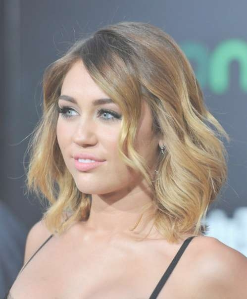 Miley Cyrus Ombre Hair: Layered Mid Length Hairstyles For Women Regarding Miley Cyrus Bob Haircuts (View 9 of 15)