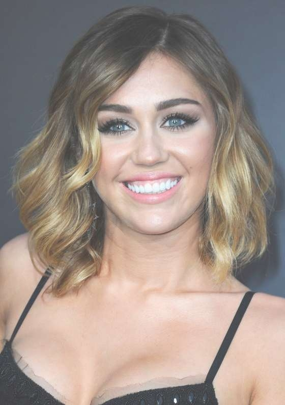 Miley Cyrus Soft Wavy Ombre Bob Hairstyle For Medium Length Hair Throughout Miley Cyrus Bob Haircuts (View 14 of 15)