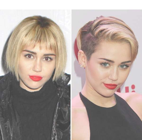 Pic] Miley Cyrus Bob Haircut — Singer Ditches Edgy Style For Intended For Miley Cyrus Bob Haircuts (View 15 of 15)