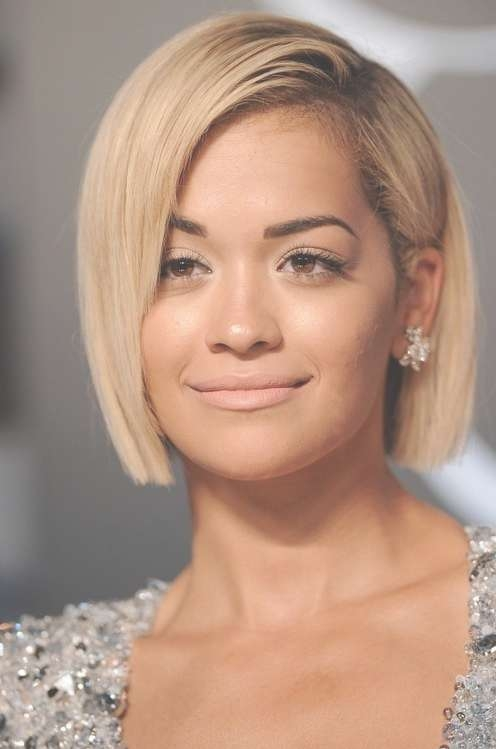 Rita Ora Short Bob Haircuts For Round Face Shapes | Styles Weekly Throughout Short Bob Hairstyles For Round Faces (View 10 of 15)