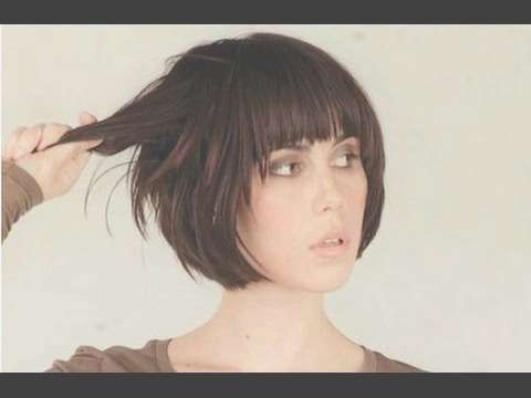 Short Bob Hairstyle With Fringe – Youtube Pertaining To Short Bob Haircuts With Bangs (View 13 of 15)