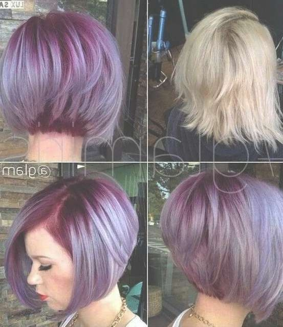 Short Hairstyles And Cuts   Purple And Lilac Stacked Short Bob Within Funky Short Bob Hairstyles (View 5 of 15)