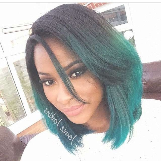 Trendy Medium Ombre Bob Haircut For Thick Hair For Black Women With Regard To Long Bob Haircuts For Black Women (View 8 of 15)