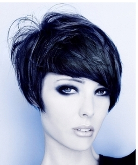 Women Cool Bob Haircut With Layers And Short Length In The Back Regarding Very Short Bob Hairstyles With Bangs (View 14 of 15)