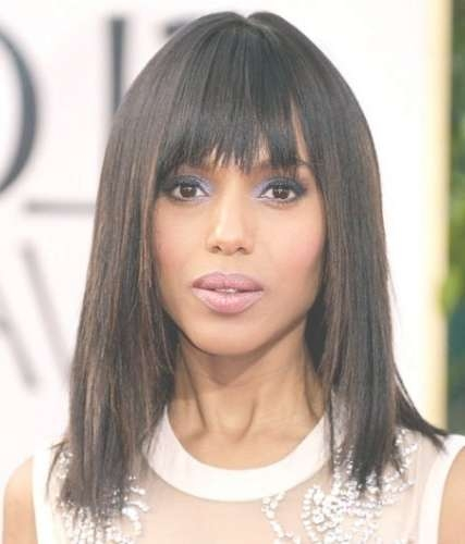 10 Full Fringe Medium Length Hair (Gorgeous Cuts With Bangs) Page With Regard To Most Popular Edgy Medium Haircuts For Black Women (View 1 of 25)