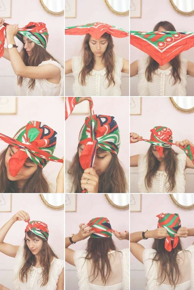 14 Tutorials For Bandana Hairstyles – Pretty Designs In Newest Medium Hairstyles With Bandanas (View 2 of 15)