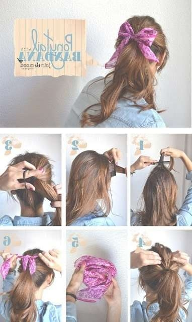 14 Tutorials For Bandana Hairstyles Pretty Designs Throughout Current Medium With Bandanas View