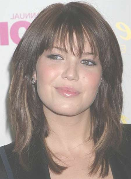 Gallery Of Medium Haircuts With Bangs And Layers For Round Faces