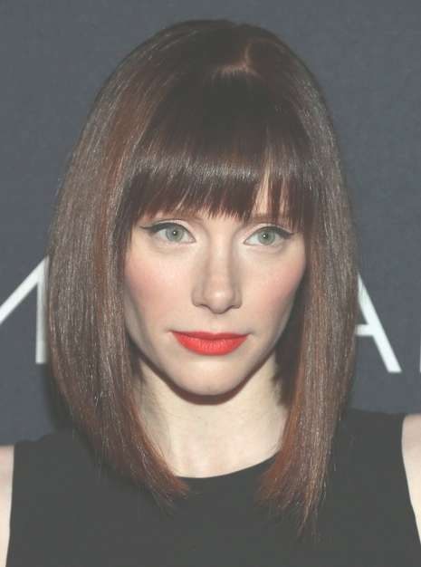 2014 Bryce Dallas Howard Medium Hairstyles: Bob Haircut With Blunt With Regard To Current Medium Haircuts With Straight Bangs (View 10 of 25)
