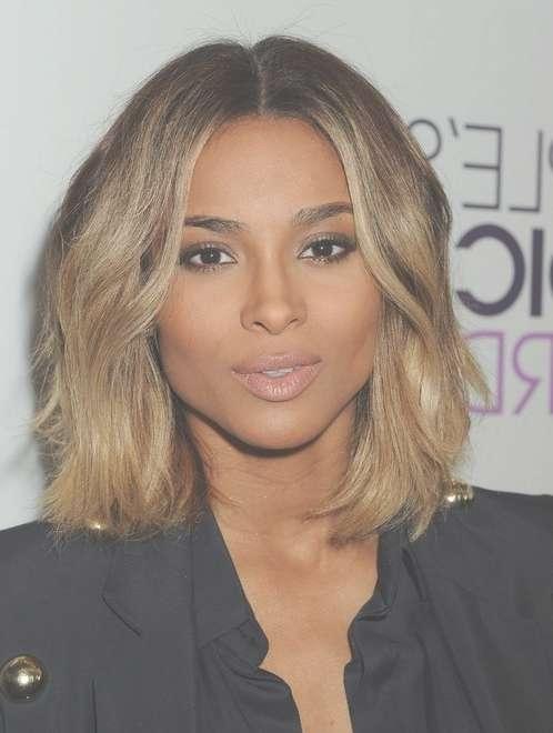 2014 Ciara Medium Hairstyles: Center Part Haircut - Pretty Designs for Latest Center Part Medium Hairstyles
