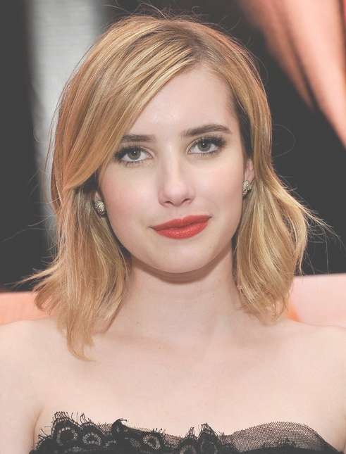 2014 Emma Roberts Medium Hairstyles: Straight Hair With Side Bangs Pertaining To 2018 Side Bang Medium Hairstyles (View 22 of 25)