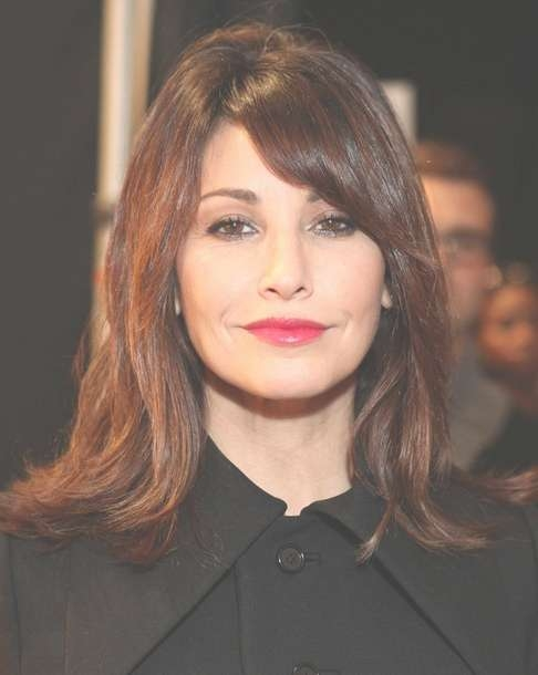 2014 Gina Gershon Medium Hairstyles: Straight Hairstyle With Side Regarding 2018 Medium Hairstyles With Side Swept Bangs (View 25 of 25)