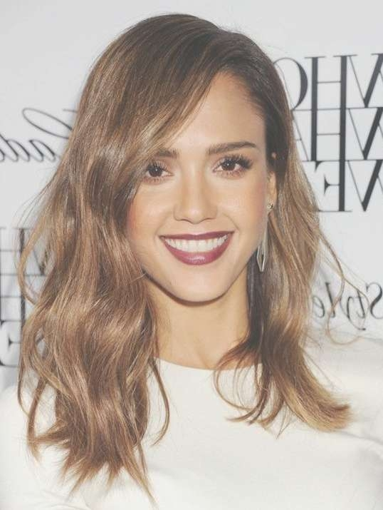 2014 Jessica Alba Hairstyles: Medium Wavy Haircut – Popular Haircuts Throughout Newest 2014 Medium Hairstyles (View 4 of 25)