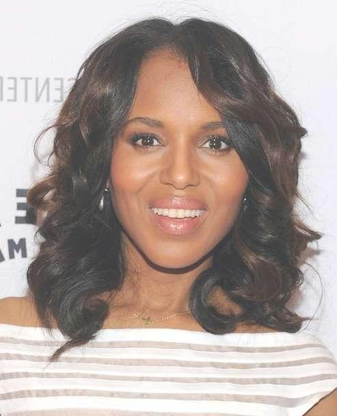 2014 Kerry Washington Medium Hairstyles: Curly Hairstyle For Inside Latest Medium Hairstyles For African American Hair (View 2 of 15)