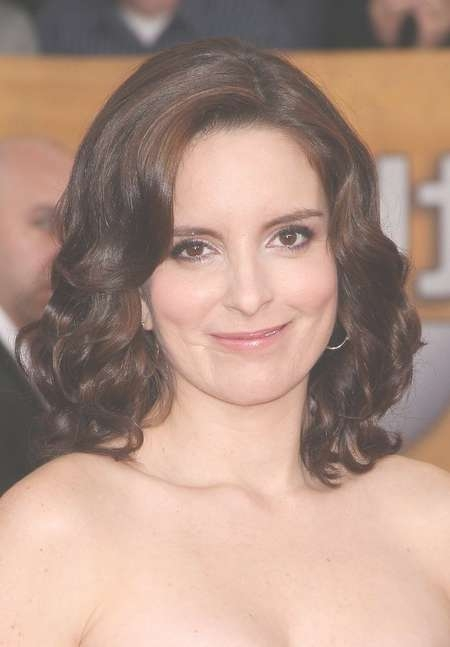 2014 Medium Brown Curly Hairstyle Without Bangs  Tina Fey Romantic Inside 2018 Medium Hairstyles No Bangs (View 3 of 25)