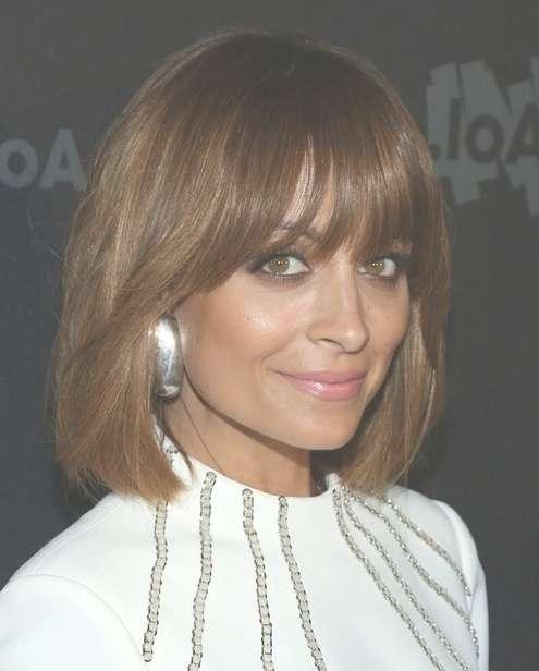 2014 Nicole Richie Medium Haircuts: Straight Bob With Bangs For 2018 Medium Haircuts With Fringe Bangs (View 17 of 25)