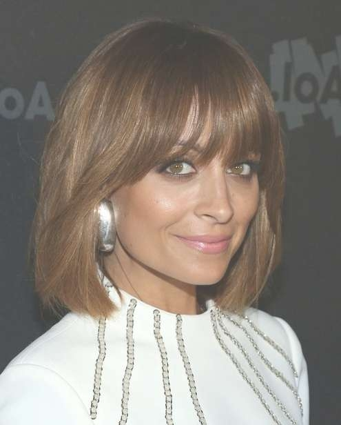2014 Nicole Richie Medium Haircuts: Straight Bob With Bangs Regarding Current Medium Hairstyles With Straight Bangs (View 2 of 25)
