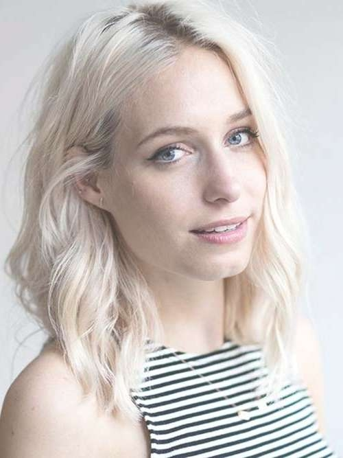 25 Latest Medium Hairstyles For Wavy Hair | Hairstyles & Haircuts Within Recent Platinum Blonde Medium Hairstyles (View 5 of 15)