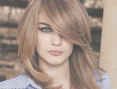 25 + Modern Medium Length Haircuts With Bangs , Layers For Thick In Best And Newest Medium Hairstyles With Bangs For Round Faces (View 5 of 25)