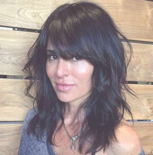 40 Side Swept Bangs To Sweep You Off Your Feet | Black Layers With Regard To Most Up To Date Black Medium Hairstyles With Bangs And Layers (View 3 of 25)