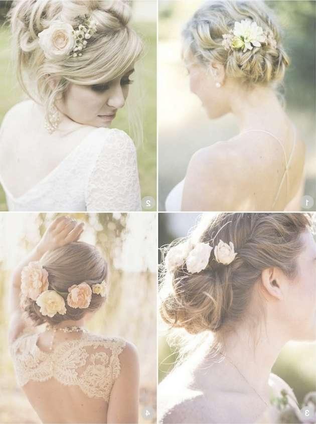 50 Romantic Wedding Hairstyles Using Flowers Regarding Best And Newest Brides Medium Hairstyles (View 17 of 25)